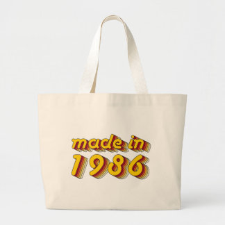 Made in 1986 (Yellow&Red) Large Tote Bag