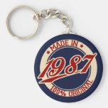 Made In 1987 Basic Round Button Keychain