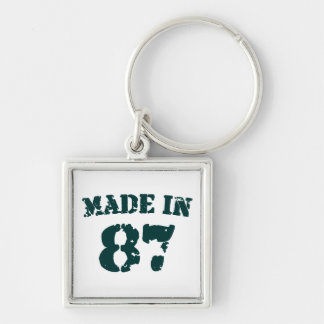 Made In 1987 Silver-Colored Square Keychain