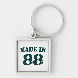 Made In 1988 Silver-Colored Square Keychain