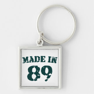 Made In 1989 Silver-Colored Square Keychain