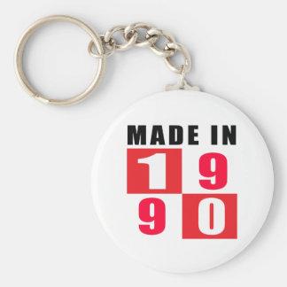 Made In 1990 Birthday Designs Basic Round Button Keychain