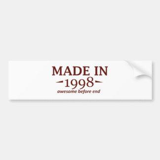 Made in 1998 car bumper sticker