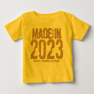 Made in 2023 or Any Year Grunge Text GOLD and TAN Baby T-Shirt
