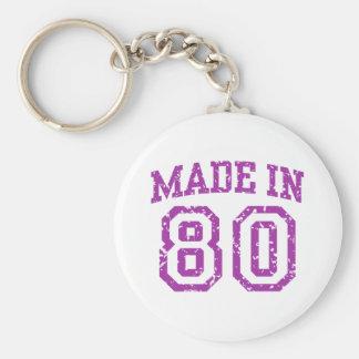 Made in 80 basic round button keychain