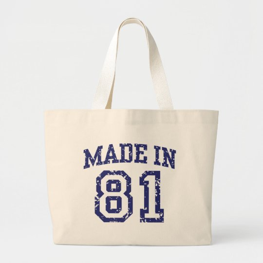 Made in 81 large tote bag