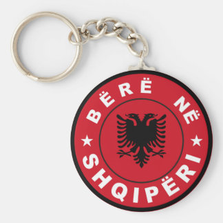 made in albania country flag label bere shqiperi basic round button keychain