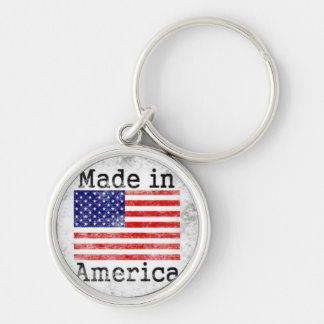 Made in America Colorful Stamp Silver-Colored Round Keychain