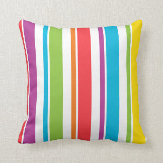 Made In America Colorful Striped Throw Pillow