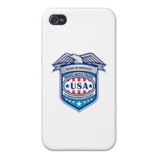 Made In America Eagle Patriotic Shield Retro Cover For iPhone 4