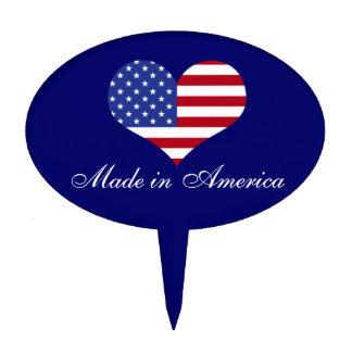 Made in America- Flag in Heart Shape Cake Picks