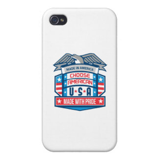 Made In America Patriotic Shield Retro iPhone 4 Case