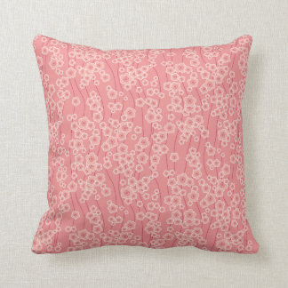 Made In America Pink Japanese Flowers Pillow
