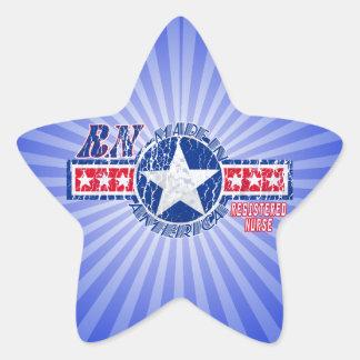 MADE IN AMERICA RN - REGISTERED NURSE PATRIOTIC STAR STICKER