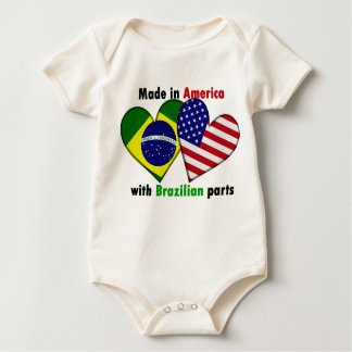 made in america with brazilin parts baby bodysuit