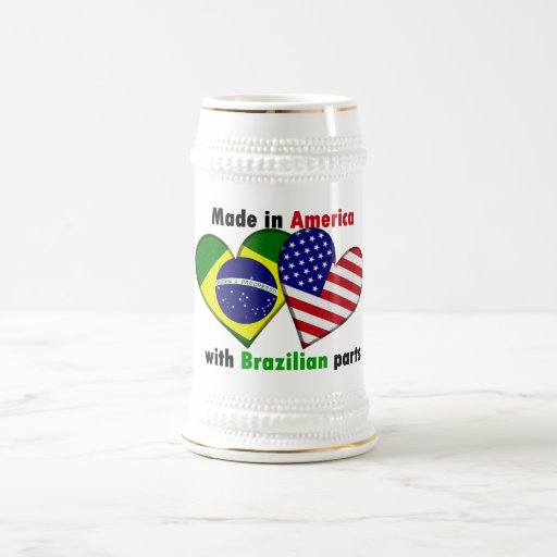 made in america with brazilin parts 18 oz beer stein