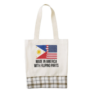 Made In America With Filipino Parts Zazzle HEART Tote Bag
