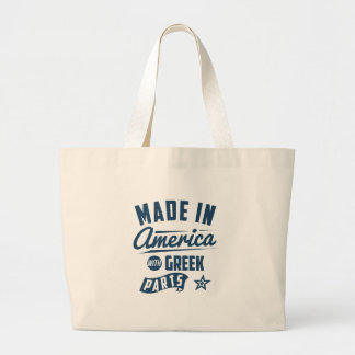 Made In America With Greek Parts Large Tote Bag