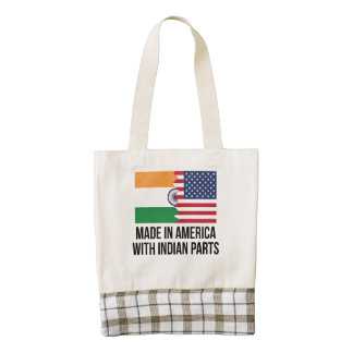 Made In America With Indian Parts Zazzle HEART Tote Bag