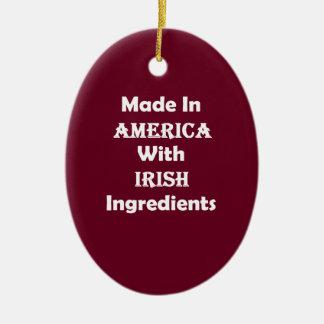 Made In America With Irish Ingredients Ceramic Ornament