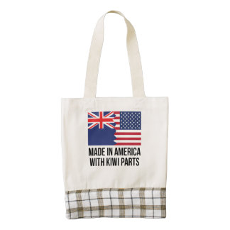 Made In America With Kiwi Parts Zazzle HEART Tote Bag