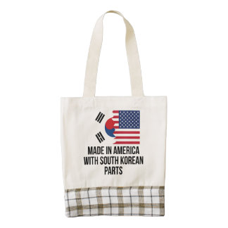 Made In America With South Korean Parts Zazzle HEART Tote Bag