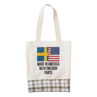 Made In America With Swedish Parts Zazzle HEART Tote Bag