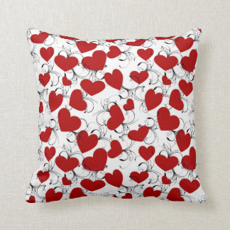Made In American Lots Of Red Hearts Throw Pillow