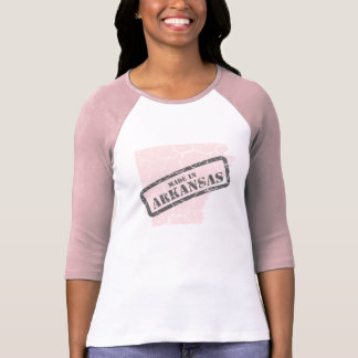 Made in Arkansas Grunge Map Ladies Pink Raglan T Shirt