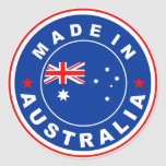 made in australia country flag label classic round sticker