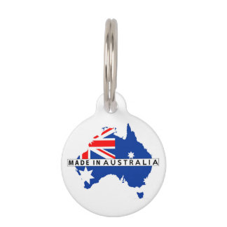 made in australia country map flag product label pet name tag