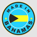 made in bahamas country flag label round stamp classic round sticker