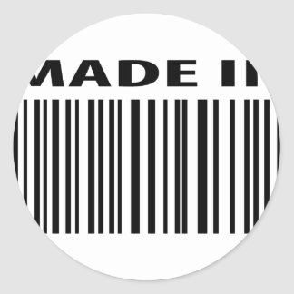 made in blank bar code barcode classic round sticker