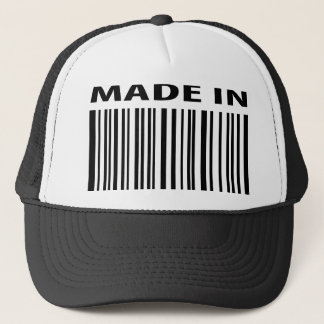 made in blank bar code barcode trucker hat