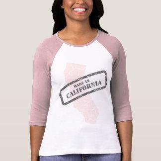 Made in California Grunge Map Ladies Pink Raglan T-Shirt