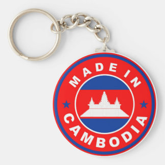 made in cambodia country flag product label round basic round button keychain