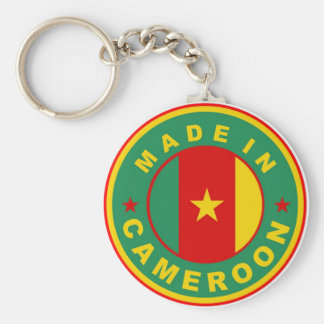 made in cameroon country flag product label round basic round button keychain