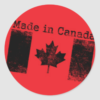 Made in Canada Black Stamp on Red Classic Round Sticker