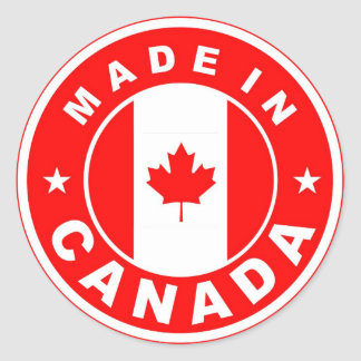 made in canada country flag label round stamp classic round sticker