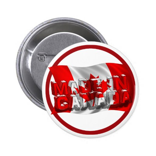 Made in Canada (Flag Background) 2 Inch Round Button