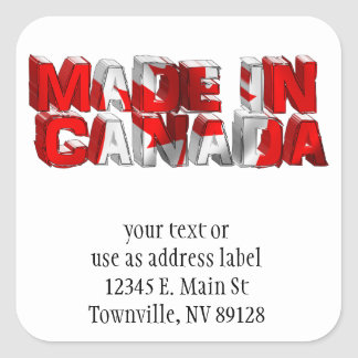 Made in Canada Flag Text Square Sticker