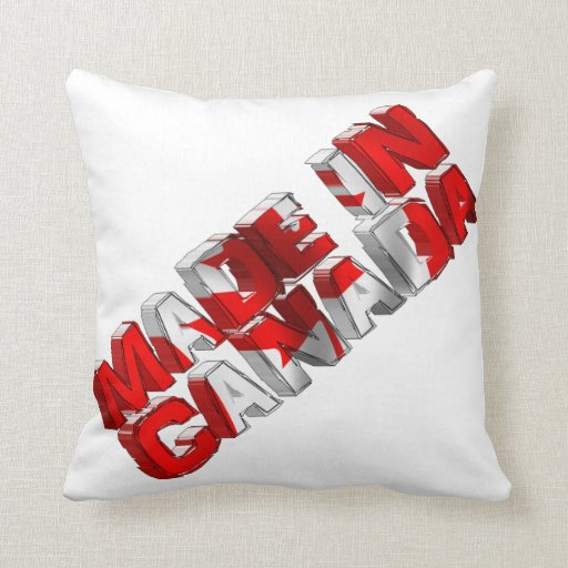 Made in Canada Flag Text Throw Pillow