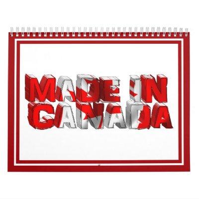 Made in Canada Flag Text Wall Calendar