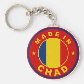 made in chad country flag product label round basic round button keychain