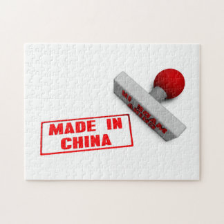 Made in China Stamp or Chop on Paper Concept in 3d Jigsaw Puzzles