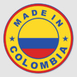 made in colombia country flag product label round classic round sticker