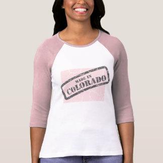 Made in Colorado Grunge Map Ladies Pink Raglan Shirt