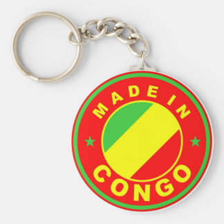 made in congo country flag product label round basic round button keychain