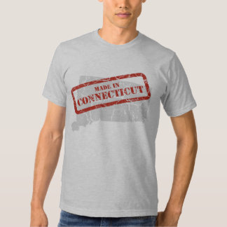 Made in Connecticut Grunge Map Grey T-shirt