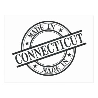 Made In Connecticut Stamp Style Logo Symbol Black Postcard